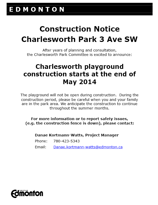 Charlesworth Park Construction Notice