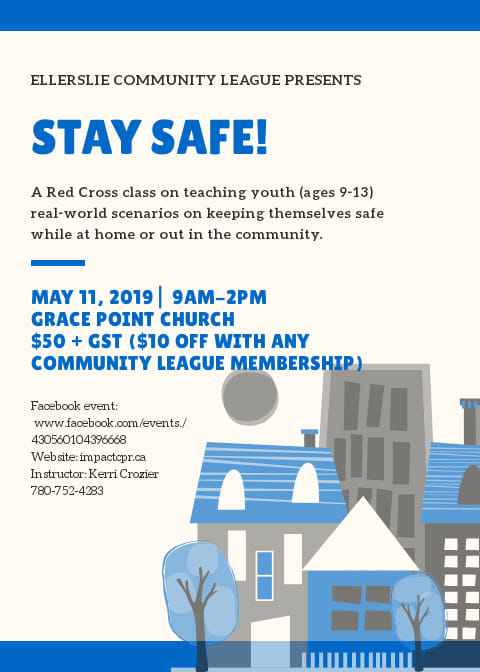 Red Cross Stay Safe Course May 11 2019 9am-2pm. $50 + gst. $10 off if an ECL member.